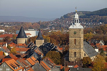 Stephanikirche church and Breites Tor gate, view from the church tower of Marktkirche church, Goslar, a UNESCO World Heritage site, Harz, Lower Saxony, Germany, Europe