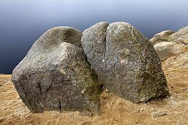 Granite rocks at Talsperre Oderteich reservoir, Harz National Park, Upper Harz, Lower Saxony, Germany, Europe, PublicGround
