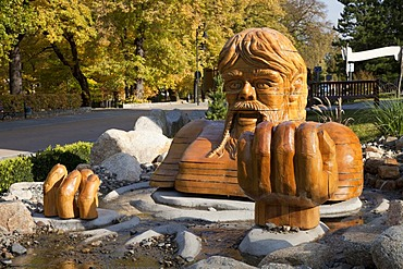 Wasserriese Aegir, sculpture of the sea giant Aegir, Thale, Harz, Saxony-Anhalt, Germany, Europe