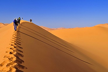 Group of tourists hiking through the sand dunes of Erg Mehejibad, Ahnet, Algeria, Sahara, North Africa