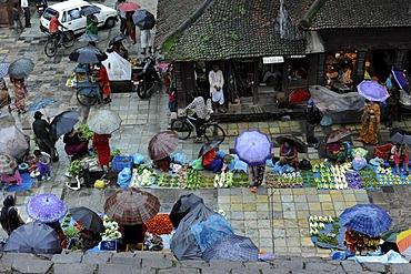 Royal Square, Durbar Square with market during rainy weather, Bagmati, Kathmandu, Nepal, South Asia, Asia