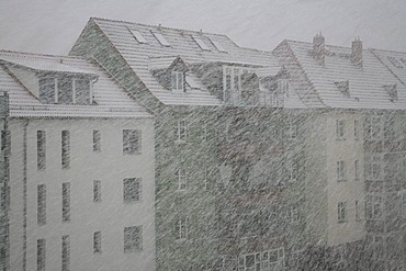 Strong snowstorm in Erfurt, Thuringia, Germany, Europe