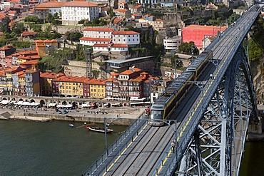 View over the Douro river and the Dom Luis I bridge, Porto, Unesco World Heritage Site, Portugal, Europe