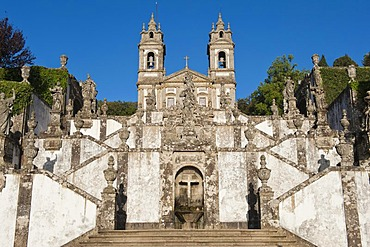 Baroque stairs, Bom Jesus do Monte Sanctuary, Braga, Minho, Portugal, Europe