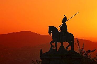 Sao Longuinhos equestrian statue at sunset, Bom Jesus do Monte Sanctuary, Braga, Minho, Portugal, Europe