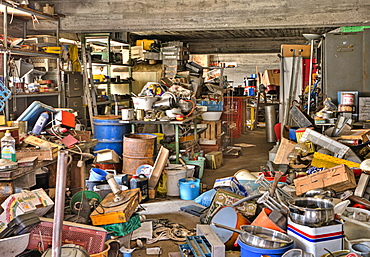 Clutter, storage room, abandoned factory