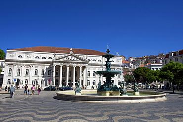 National Theatre, Teatro Nacional with bronze fountain, Praca Dom Pedro IV square, Rossio, Baixa, Lisbon, Portugal, Europe
