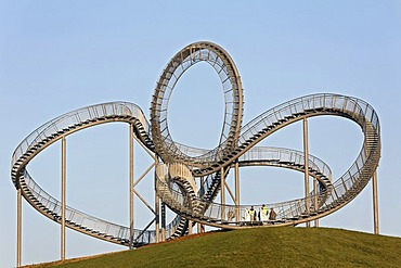 Tiger & Turtle - Magic Mountain sculpture, landmark, walkable sculpture in the Angerpark, roller coaster-shaped, Duisburg, Ruhr area, North Rhine-Westphalia, Germany, Europe