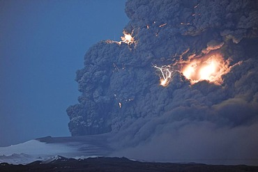 Lightning flashes in a charged cloud of ash from Eyjafjallajoekull Volcano, April 2010, Iceland, Europe