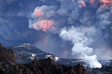 Ash-covered landscape and a vapor cloud under the sun-drenched morning cloud of ash from Eyjafjallajoekull Volcano, Iceland, Europe