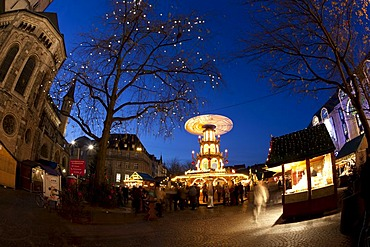 Fisheye view at dusk, Christmas market at Bonner Muenster, Bonn Minster, basilica, cathedral, Muensterplatz square, Bonn, Rhineland, North Rhine-Westphalia, Germany, Europe