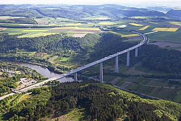 Aerial view, Autobahn A61, motorway bridge, Moseltalbruecke, Moselle valley bridge, between Winningen and Dieblich, Rhineland-Palatinate, Germany, Europe
