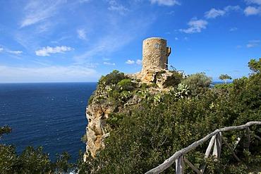 Torre des Verger, Torre de Ses Animes or Mirador de Ses Animes, old watch tower near Banyalbufar, Majorca, Balearic Islands, Spain, Europe