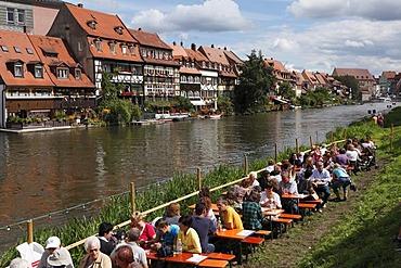 Klein-Venedig, little Venice, Regnitz river during Sandkerwa, folk festival, Bamberg, Upper Franconia, Franconia, Bavaria, Germany, Europe, PublicGround