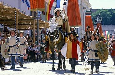 Emperor Maximilian, Taenzelfest pageant, Kaufbeuren, Ostallgaeu, Bavaria, Swabia, Bavaria, Germany, Europe, PublicGround
