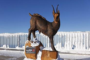 Gams sculpture by Mario Gasser at the summit of Zugspitze Mountain, Wetterstein Mountains, Tyrol, Austria, Europe