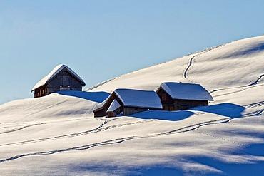 Huts on Alp Horn Mountain, Canton of St. Gallen, Switzerland, Europe
