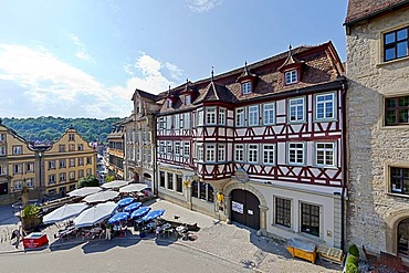 Marktplatz square, historic centre of Schwaebisch Hall, Hohenlohe, Baden-Wuerttemberg, Germany, Europe, PublicGround