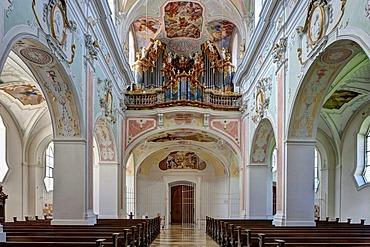 Organ, monastery church of St. Georg, Kloster Ochsenhausen Monastery, Ochsenhausen, Biberach district, Upper Swabia, Baden-Wuerttemberg, Germany, Europe