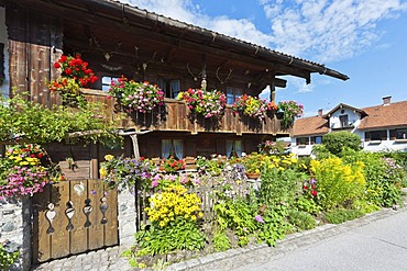 Old farm house with flowers, Bernried am Starnberger See, Upper Bavaria, Bavaria, Germany, Europe, PublicGround