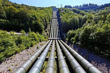 E.ON Walchensee or Lake Walchen Power Plant Experience, Walchensee hydroelectric power plant, pipes between Lake Walchen and Kochelsee Lake or Lake Kochel, Upper Bavaria, Bavaria, Germany, Europe