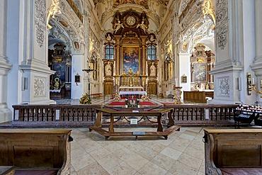 Benediktbeuern Abbey, a former Benedictine abbey, today a monastery of the Salesians of Don Bosco in Benediktbeuern, diocese of Augsburg, Benediktbeuern, Upper Bavaria, Bavaria, Germany, Europe