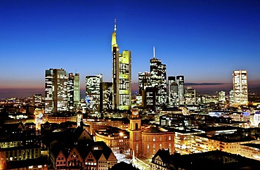 Frankfurt skyline at dusk, with buildings of Commerzbank, Hessische Landesbank, Deutsche Bank, European Central Bank, ECB, Skyper, Sparkasse, DZ Bank, Frankfurt am Main, Hesse. Germany, Europe