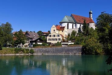 Franciscan monastery, Lech river, Fuessen, East Allgaeu, Swabia, Bavaria, Germany, Europe, OeffentlicherGrund