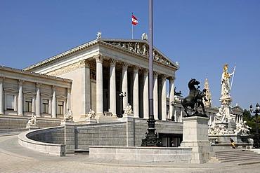 Austrian Parliament building, built 1861, sculpture at Pallas Athene at front, Dr.-Karl-Renner-Ring, Vienna, Austria, Europe