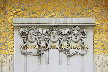 Three reliefs of gorgons, three terrifying female creatures with hair of snakes form the Greek mythology, above the entrance to the exhibition hall of the Vienna Secession, opened 1898, Friedrichstrasse 12, Vienna, Austria, Europe