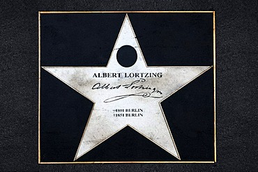 Memorial star to Albert Lortzing on the sidewalk of the Musikmeile, Linke Wienzeile, Vienna, Austria, Europe