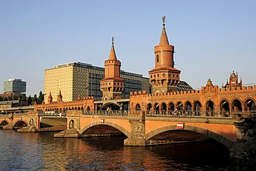 Oberbaumbruecke, a neo-Gothic bridge over the Spree river between Kreuzberg and Friedrichshain, Berlin, Germany, Europe