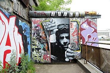 Street art and graffiti on the Spree riverside, Berlin Friedrichshain, Germany, Europe