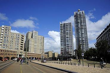 Towers on the Palaceplein square in Scheveningen, Den Haag, The Hague, Dutch North Sea coast, Holland, Netherlands, Benelux, Europe