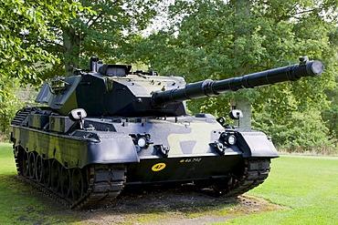 Old tank at the Danish UN soldiers war memorial park at Rindsholm Inn near Viborg, Jutland, Denmark, Europe
