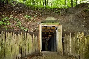 The entrance to Daugbjerg limestone mines near Viborg, Jutland, Denmark, Europe