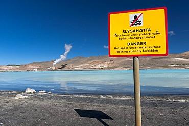 Warning sign, energy generation, geothermal area, lake M˝vatn, northern Iceland, Europe