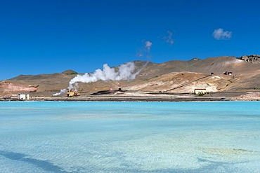 Rising steam, geothermal area, energy generation, at lake M˝vatn, northern Iceland, Europe