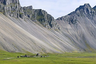 Replica of a Viking village near Hoefn, East Iceland, Iceland, Europe