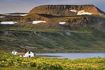 Old houses, Hesteyri, Hesteyrarfjoerur or Joekulfirir, Hornstrandir hiking paradise, Westfjords, Iceland, Europe