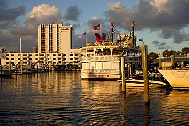 Excursion boat and Jungle Queen riverboat in the marina of Fort Lauderdale, Broward County, Florida, USA
