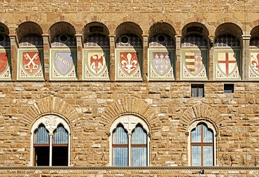 Detail of facade of Palazzo Vecchio, Piazza della Signoria, Firenze, Florence, Toscana, Tuscany, Italy, Europe