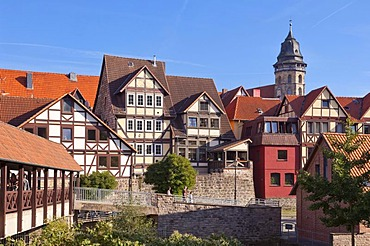 Historic town centre with St. Blasius Church, Hannoversch Muenden, Lower Saxony, Germany, Europe