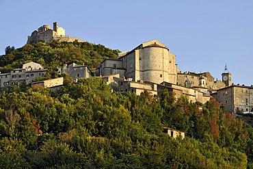 Chiesa Madonna della Rocca church at Castello dei Frangipane, Frangipani castle, Rocca di Tolfa, aspe of the Chiesa Collegiata di Sant' Egidio church, Tolfa, Lazio, Italy, Europe