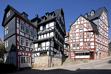 Half-timbered houses in the historic town centre, Marburg, Hesse, Germany, Europe, PublicGround