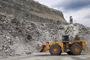Caterpillar 994F front end loader in the Aitik copper mine of Boliden AB, about 20 km southeast of the town of Gaellivare in northern Sweden, one of the largest open pit copper mines in Europe, in addition to copper, gold and silver, Molybdenum has been m