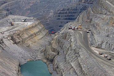 Aitik copper mine of Boliden AB, about 20 km southeast of the town of Gaellivare in northern Sweden, one of the largest open pit copper mines in Europe, in addition to copper, gold and silver, Molybdenum has been mined since 2008, Aitik, Lapland, Sweden,