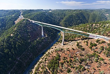 Foresthill Bridge, the highest bridge in California, crossing the North Arm, North Fork, American River, aerial view, Auburn, California, USA, North America