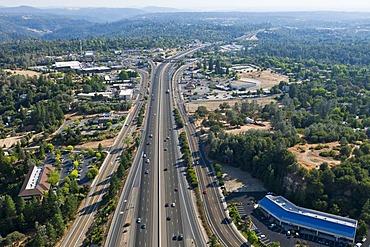 Interstate 80 highway, heading south, aerial view east of Sacramento, Auburn, California, USA, North America