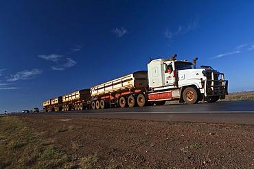 Road Train, 2AB quad, on a country road outside of Port Hedland, Western Australia, Australia
